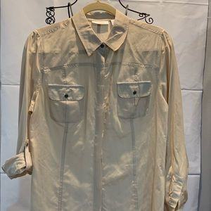 Chico's cotton silk blend utility ease button down